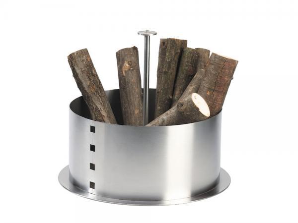 Portalegna cilindro in acciaio inox - Accessori per caminetti in acciaio by F.lli Guerra