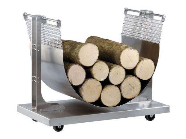 Portalegna in acciaio inox con ruote - Accessori per caminetti in acciaio by F.lli Guerra (su ordinazione)