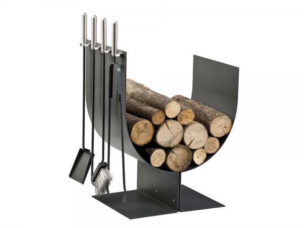 Portalegna in acciaio inox e ferro verniciato - Accessori per caminetti in acciaio by F.lli Guerra