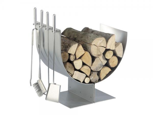 Portalegna in acciaio inox - Accessori per caminetti in acciaio by F.lli Guerra