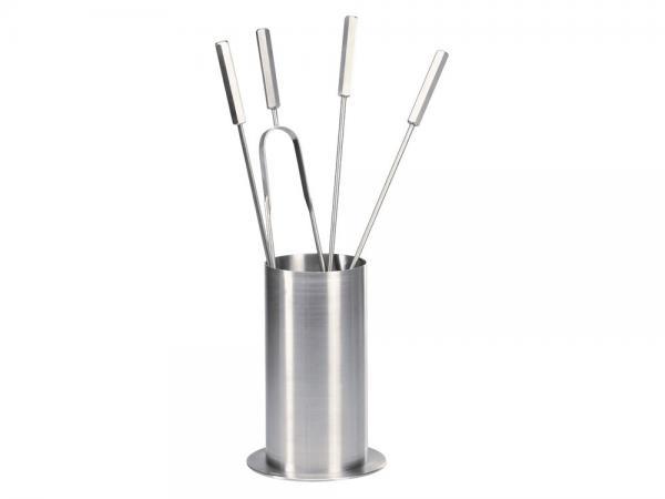 Set accessori per caminetto in acciaio inox con manici esagonali - Accessori per caminetti in acciaio by F.lli Guerra